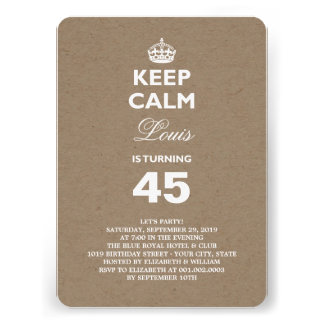 Kraft Paper Keep Calm Funny 50th Birthday Party Personalized Invitations