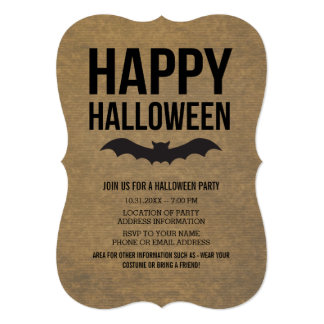Kraft Paper Look Happy Halloween Rustic Bat Card