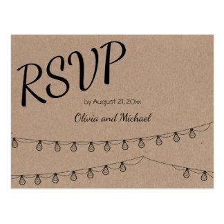 Kraft paper RSVP Postcard for wedding