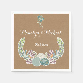 Kraft Paper Succulents Wedding Paper Napkins