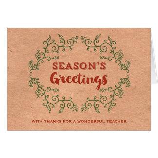 Kraft Paper Vintage Wreath Teacher Christmas Greeting Card