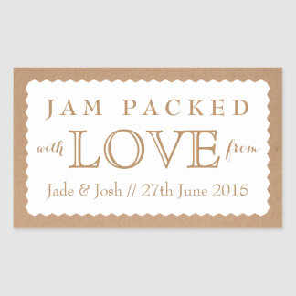 Kraft Paper White Wedding Favor Jam Jar Sticker