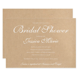 Kraft Recycled Paper Bridal Shower Card