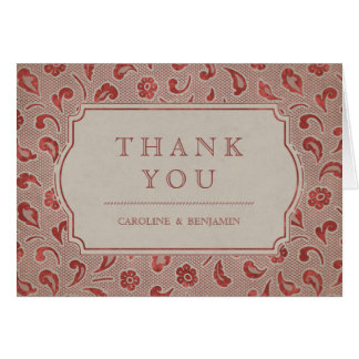 Kraft red Lace rustic country wedding thank you Card