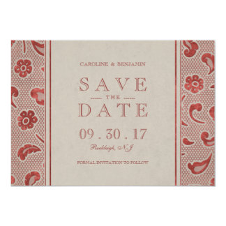 Kraft red Lace rustic wedding save the date Card