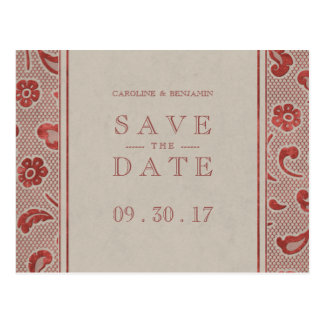 Kraft red Lace rustic wedding save the date Postcard