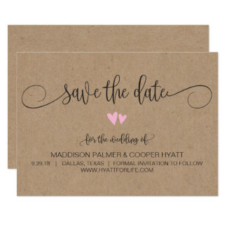 Kraft Rustic Hearts Save the Date Card