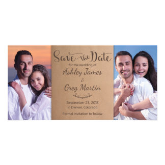 Kraft Rustic Photo Collage Wedding Save the Date Photo Cards
