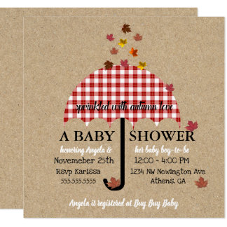 Kraft Sprinkled With Autumn Love Party Invitation