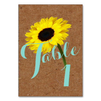Kraft Sunflower Bride Party Number Table Cards