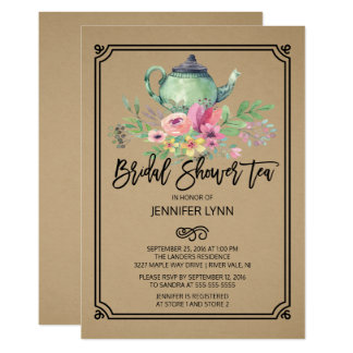 Kraft Watercolor Bridal Shower Tea Invitation