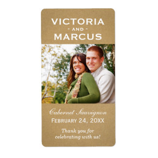 Kraft Wedding Photo Wine Bottle Favor Labels