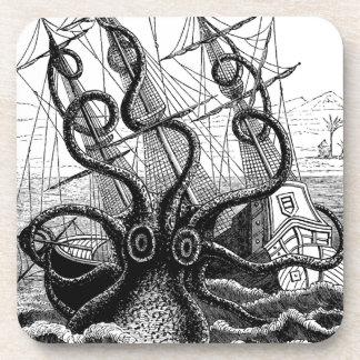 Kraken Eatting a Sailing Ship Drink Coasters