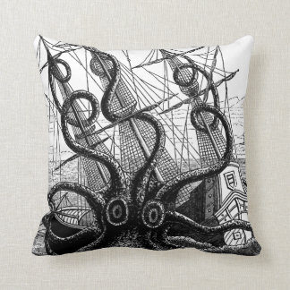 "Kraken/Octopus Eatting A Pirate Ship, 20"" Pillow"
