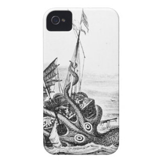 Kraken/Octopus Eatting A Pirate Ship, Black/White Case-Mate iPhone 4 Cases