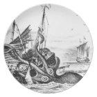 Kraken/Octopus Eatting A Pirate Ship, Black/White Plate