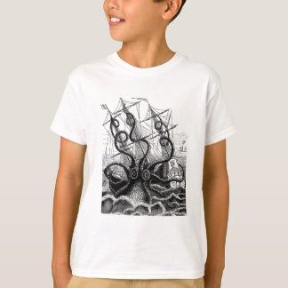 Kraken/Octopus Eatting A Pirate Ship, Black/White T-Shirt