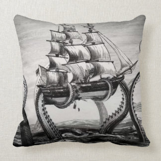 Kraken/Octopus Eatting A Pirate Ship, Black/White Throw Pillow