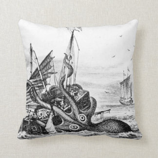 Kraken/Octopus Eatting A Pirate Ship, Black/White Throw Pillows