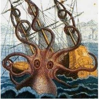 Kraken Steampunk Octopus Vintage Photo Sculpture Keychain