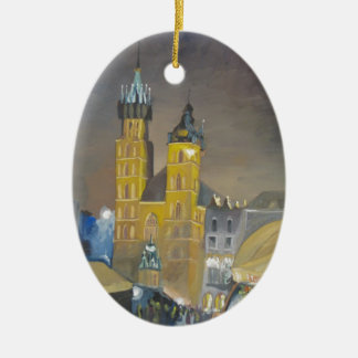 Krakow at night ceramic oval ornament