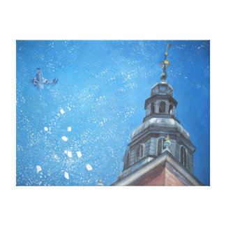 Krakow biplane painting canvas print