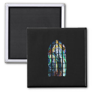 Krakow Church of St. Francis Stained Glass Square Magnet