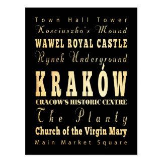 Kraków City of Poland Typography Art Postcard