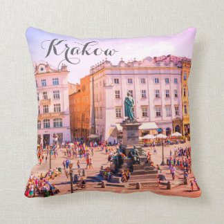 Krakow, Main Square with A Mickiewicz monument Throw Pillow