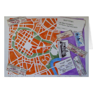 Krakow map greeting card