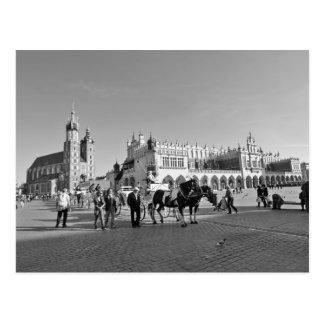 Krakow, Old Town, Poland, black and white postcard