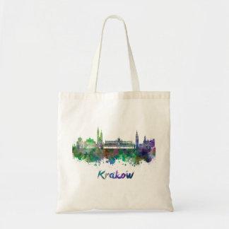 Krakow skyline in watercolor tote bag