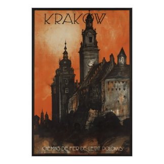 Krakow Vintage Travel Poster Ad Retro Prints
