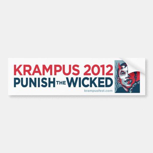 Krampus 2012 Punish the Wicked Slogan Sticker Bumper Stickers