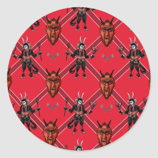 Krampus Box Design Classic Round Sticker