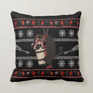 Krampus Caught A Naughty One Throw Pillow