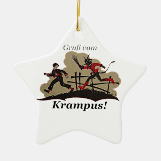 Krampus Chases Kid Ceramic Ornament