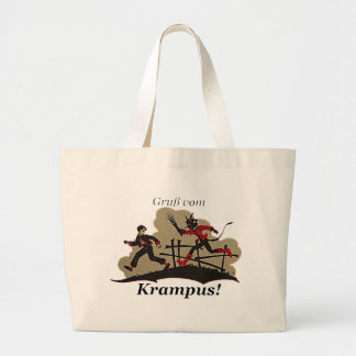 Krampus Chases Kid Large Tote Bag