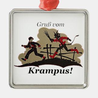 Krampus Chases Kid Metal Ornament