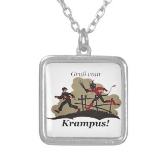 Krampus Chases Kid Silver Plated Necklace