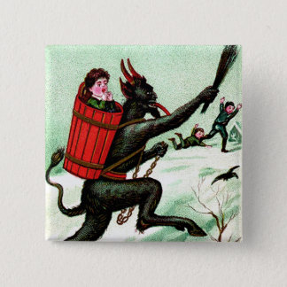 Krampus Chasing Bad Children Winter Snow 2 Inch Square Button