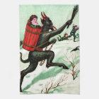 Krampus Chasing Bad Children Winter Snow Kitchen Towel