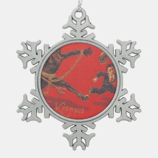Krampus Chasing Boy Pewter Snowflake Ornament