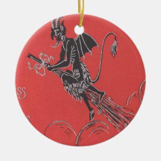 Krampus Flying On Broom Ceramic Ornament