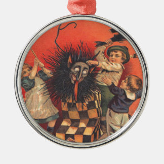 Krampus Jack-In-A-Box Silver-Colored Round Ornament