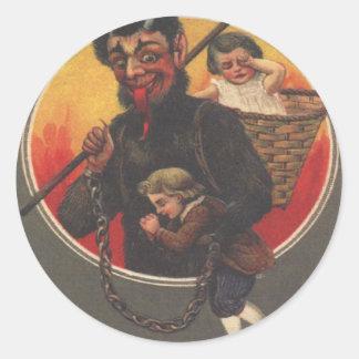 Krampus Kidnapping Boy & Girl Classic Round Sticker