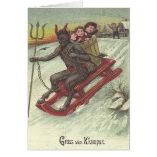 Krampus Kidnapping Kids On Sleigh Card
