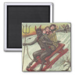 Krampus Kidnapping Kids On Sleigh Pitchfork Square Magnet