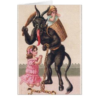 Krampus Kidnaps Kids Vintage Holiday Christmas Card