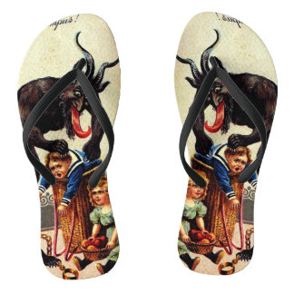 Krampus Kids Basket Holiday Christmas Flip Flops
